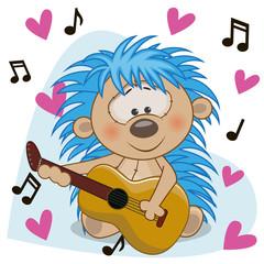 Hedgehog with guitar