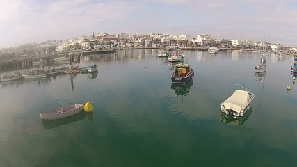Aerial from the harbor in Lagos in the Algarve Portugal