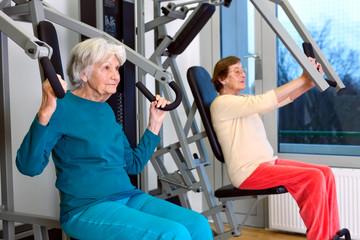 Senior Women Doing Chest Press Exercise.