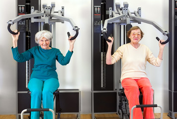 Front View of Old Women Exercising.