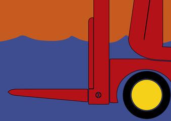 Avant pop art d'un chariot élévateur
