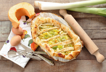 quiche with leeks and punmpkin
