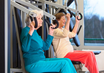 Healthy Elderly Ladies in Chest Press Exercise.