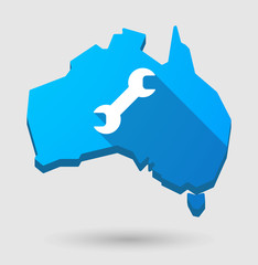 Long shadow Australia map icon with a wrench