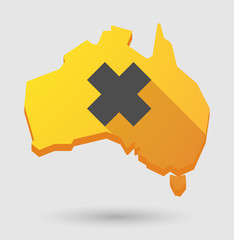 Long shadow Australia map icon with an irritating substance sign