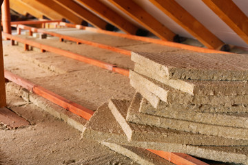 Mineral wool stack on construction site