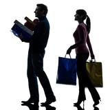 couple woman man  christmas present shopping silhouette