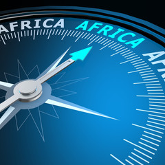 Africa word on compass