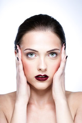 Beaty portrait of attractive woman with clean face