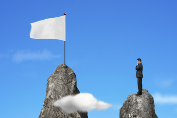 Businessman standing on peak with blank white flag and sky