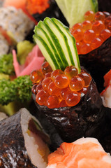 Salmon eggs sushi with assorted sushi