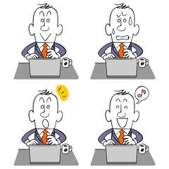 ビジネスマンとパソコン4種類の表情