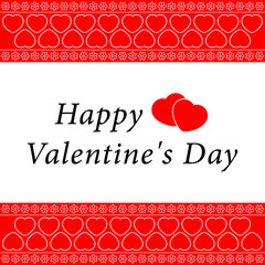 Valentine's greeting card with white ornament