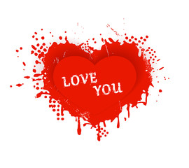 Red grungy Valentines heart with Love you lettering