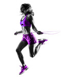 woman fitness Jumping Rope exercises silhouette