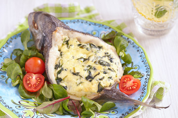 Sea Bream stuffed with spinach