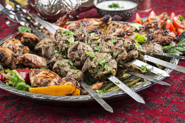 Grilled Lamb Kebab and Chicken
