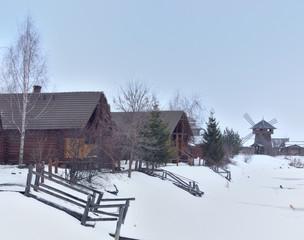 Russian village street in winter