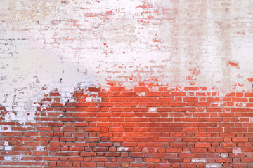 old brick wall painted half background