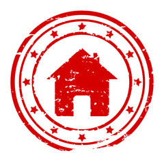 Round red stamp with the silhouette of the house - vector