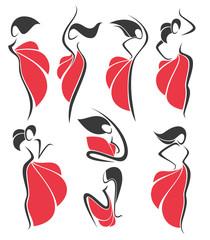 dancing girls in red dresses