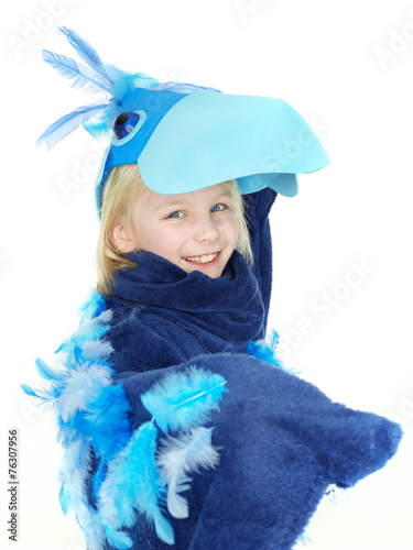 canvas print picture Cute girl as a funny bird