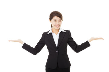 young smiling businesswoman with showing gesture