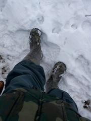 Ноги в зеленых сапогах шагают по снегу