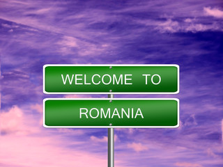 Romania Welcome Travel Sign