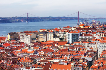 View Over City of Lisbon in Portugal