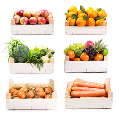 set of various food in wooden box