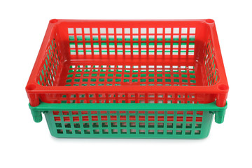 Red and green plastic basket