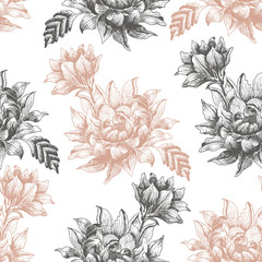 Seamless pattern with large flowers on a white background