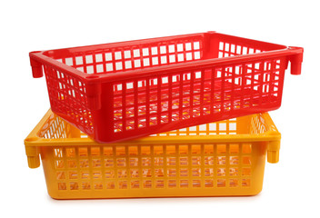 Red and yellow plastic basket