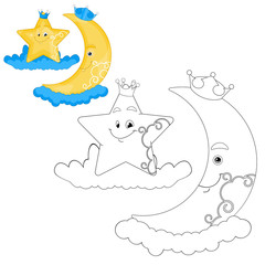 Crescent Moon And Star Coloring Book Page