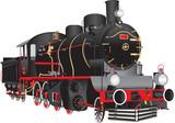 Vintage Steam Engine on white - 76309148