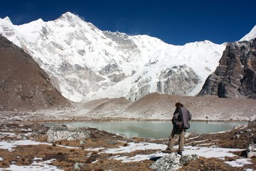 man watching cho oyu - cho oyu base camp - nepal