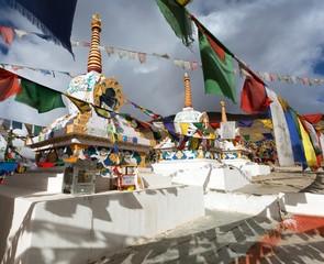 Prayer flags with stupas - Kunzum La pass -  India