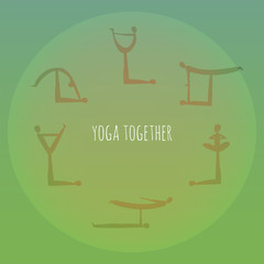 Yoga together. Acro yoga asana practice. Vector illustration.