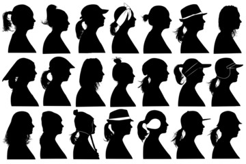 Illustration of women profiles isolated on white