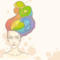 Concept of women head with rainbow hair. Vector illustration