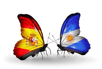 Two butterflies with flags Spain and Argentina