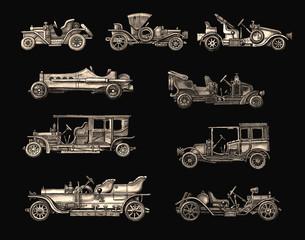 Old Light Brown Retro cars