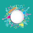 Musique-rond central-fond couleur