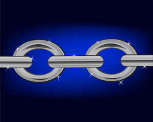 Section chain on turn blue background