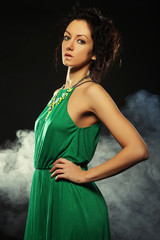 beautiful woman in green dress