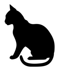 Silhouette black cat profile