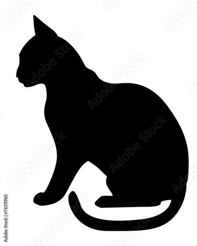 Silhouette black cat profile - 76311965