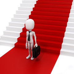 3d man businessman and red carpet, success in business concept
