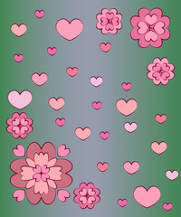 Greeting card with hearts and flowers on a dark green background